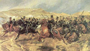 The Charge of The Light Brigade: wereldberoemde maar dwaze alles of niets aanval die vooraf al was gedoemd te mislukken. Bron: wikipedia.